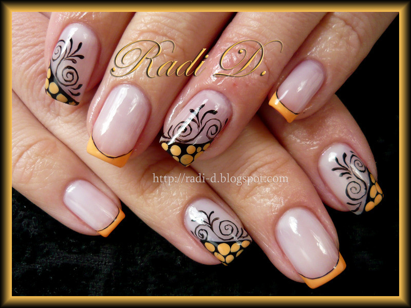 Orange Creme French nail art by Radi Dimitrova