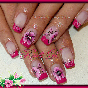 Hot Pink French nail art by Radi Dimitrova