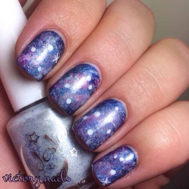 Holo GALAXY nails nail art by Nicole