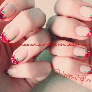 Flowery french nail art by Alessia