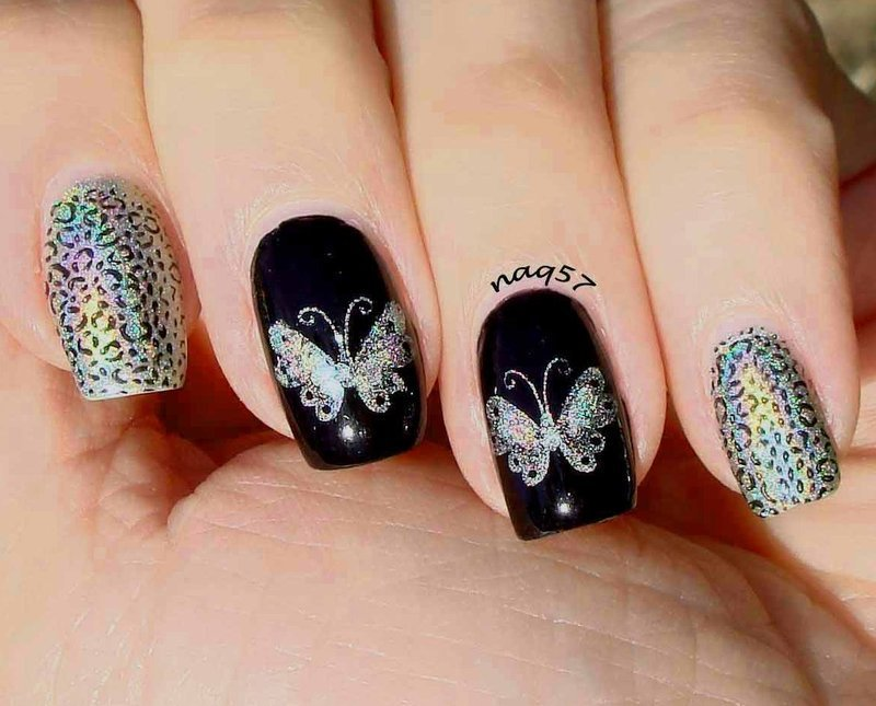 Holo Rainbow Butterflies nail art by Nora (naq57)
