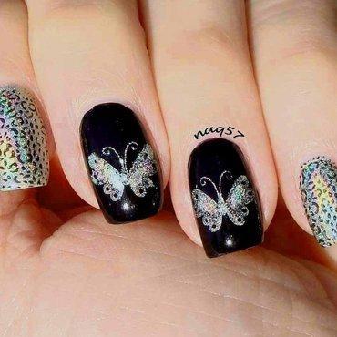 Holo Rainbow Butterflies nail art by Nora (naq57)