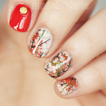 Cherry blossom nail art by Madeleinails