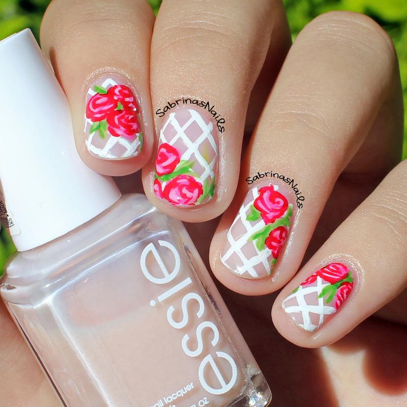 Vintage Roses nail art by Sabrina