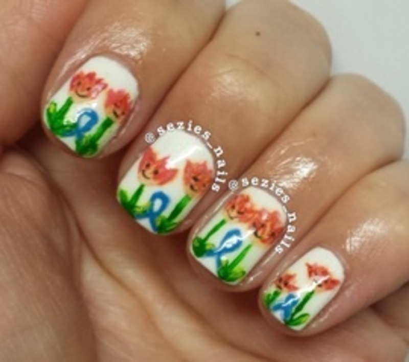 Parkinson's tulips nail art by Sarah Bellwood