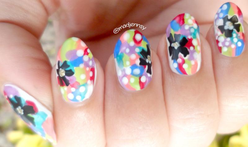 Pop Colorful Nail Art (Matte vs Glossy)  nail art by madjennsy Nail Art