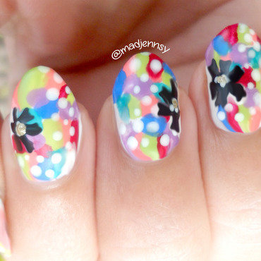 Pop Colorful Nail Art (Matte vs Glossy)  nail art by madjennsy Nail Art