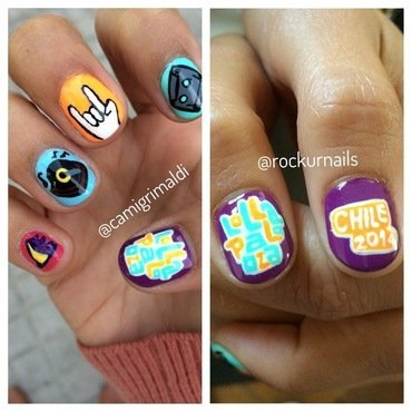Lollapalooza Chile Nail art nail art by Cami Grimaldi
