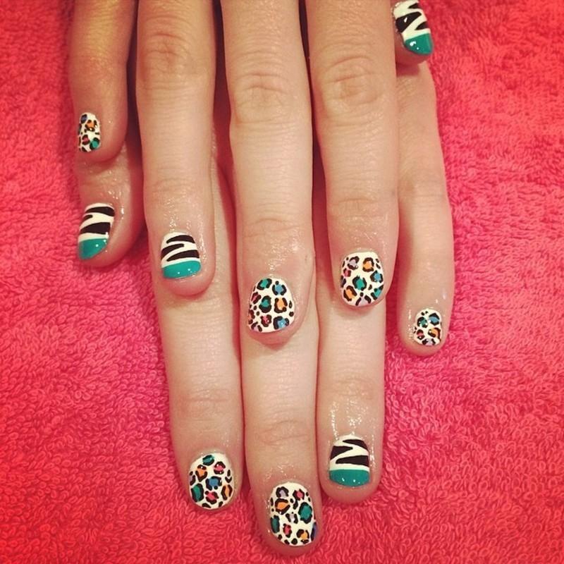 Greenish Animal Print Mix nail art by Cami Grimaldi