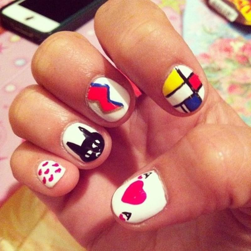 White mix n' match nail art by Cami Grimaldi