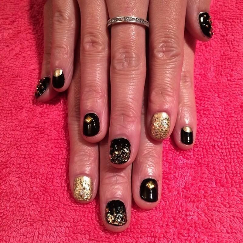 Black & Gold nail art by Cami Grimaldi