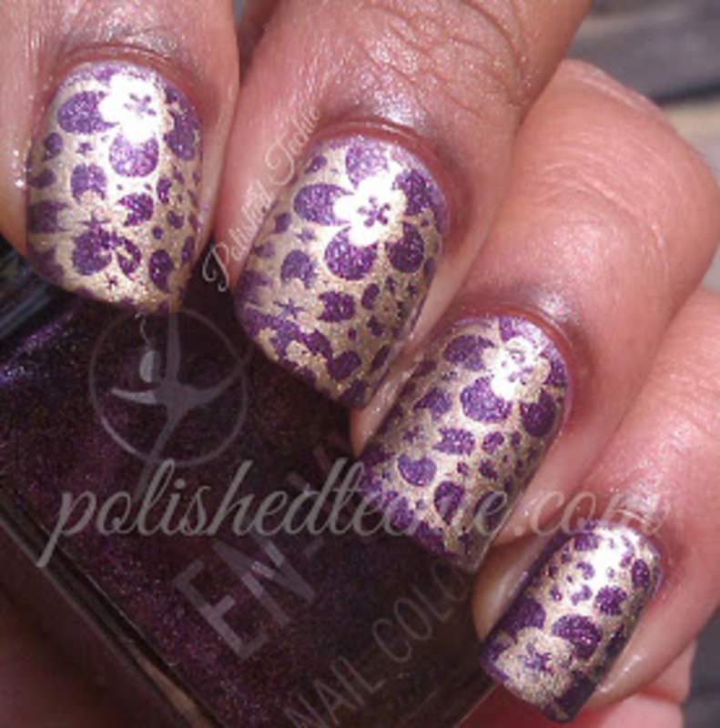 Stamping with purple base nail art by Rajani Polished Techie