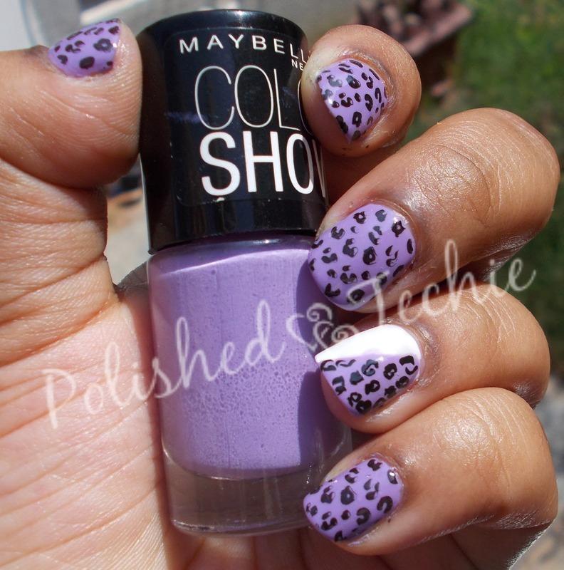 Purple White Leopard print Nailart nail art by Rajani Polished Techie