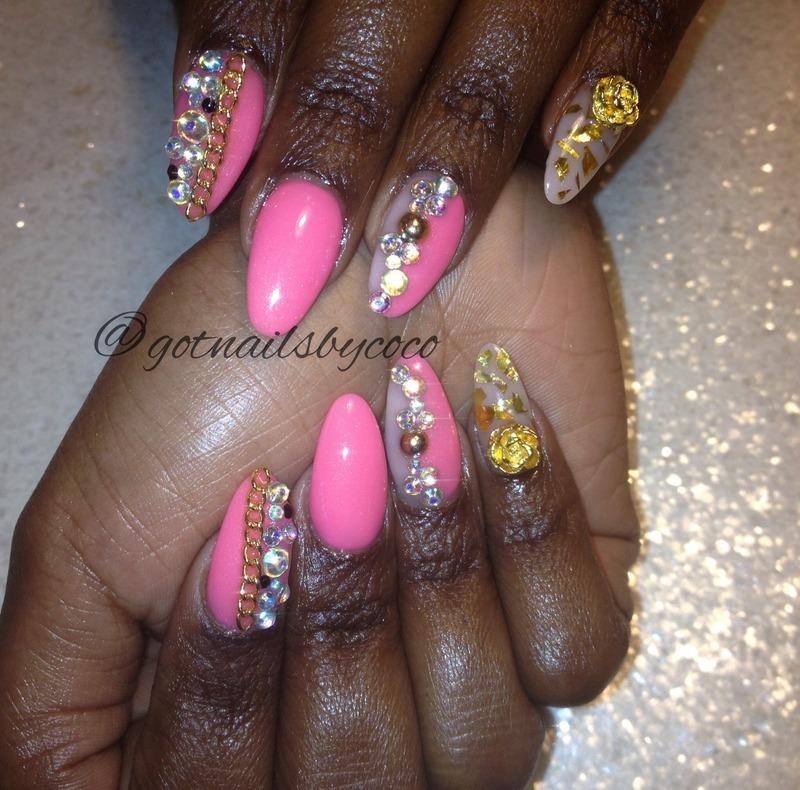 Bling, chains, and gold foil = fun nail art by Gotnailsnailtique1