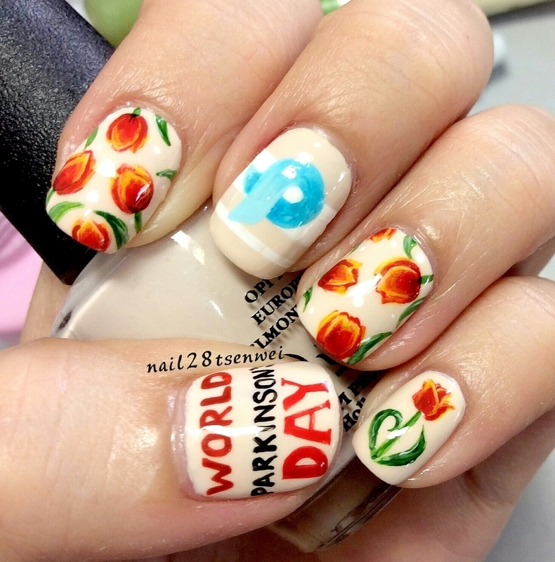 world Parkinson's day nail art by Weiwei