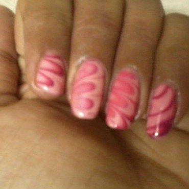 PINK WATER MARBLE nail art by Nailfame