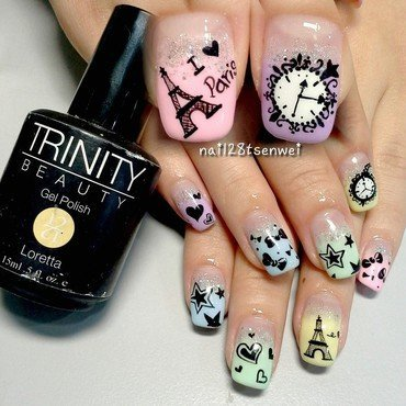 i love Paris nail art by Weiwei