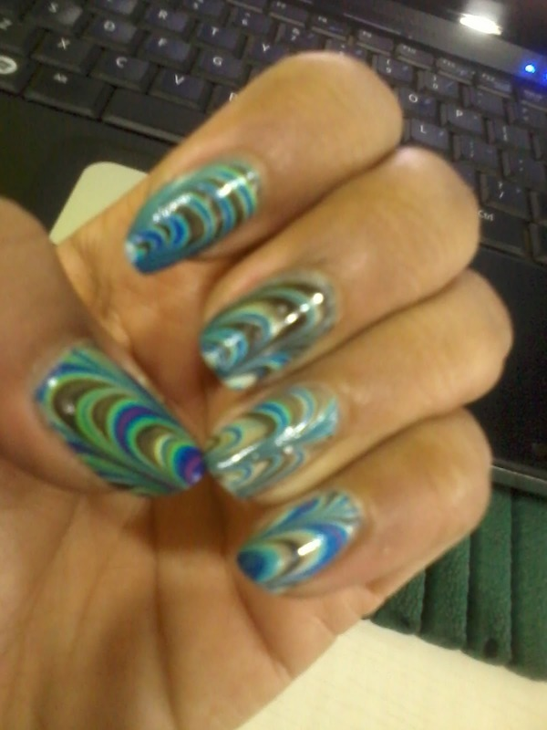 WATER MARBLE nail art by Nailfame