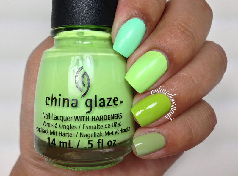 China Glaze Highlight of My Summer, Sinful Colors Innocent, Essie Navigate Her, and China Glaze grass is lime greener Swatch by Celine Peña