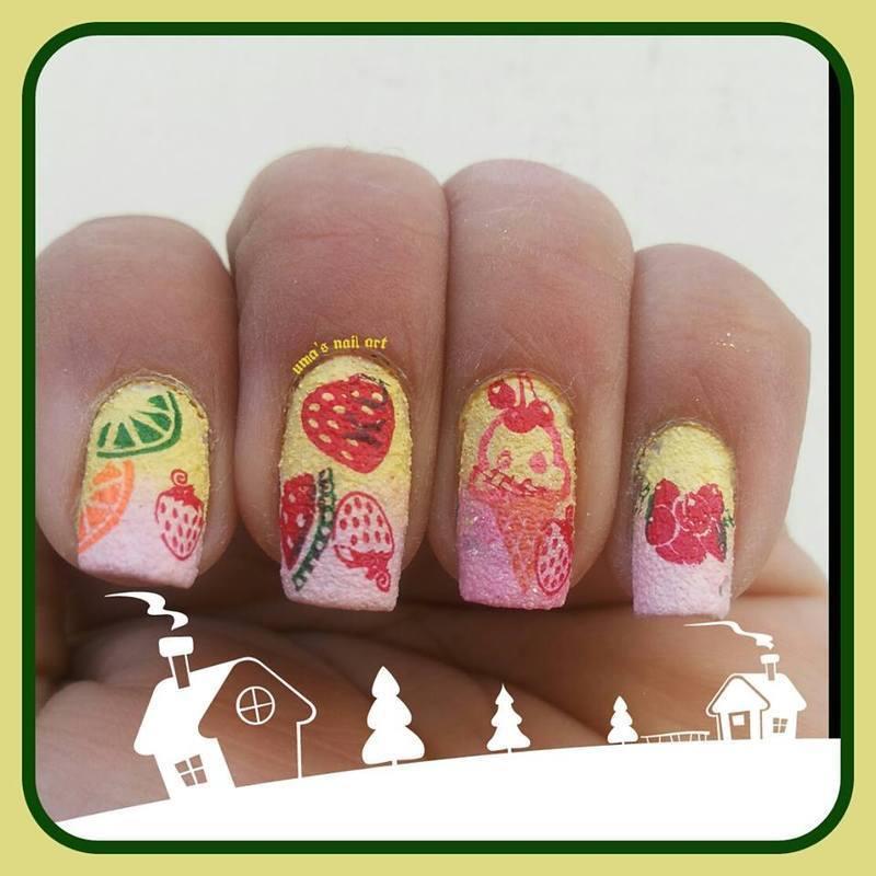mix fruites strawberry n cherry ice cream nails nail art by Uma mathur