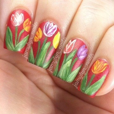 Parkinson's Awareness Tulips nail art by Jamy