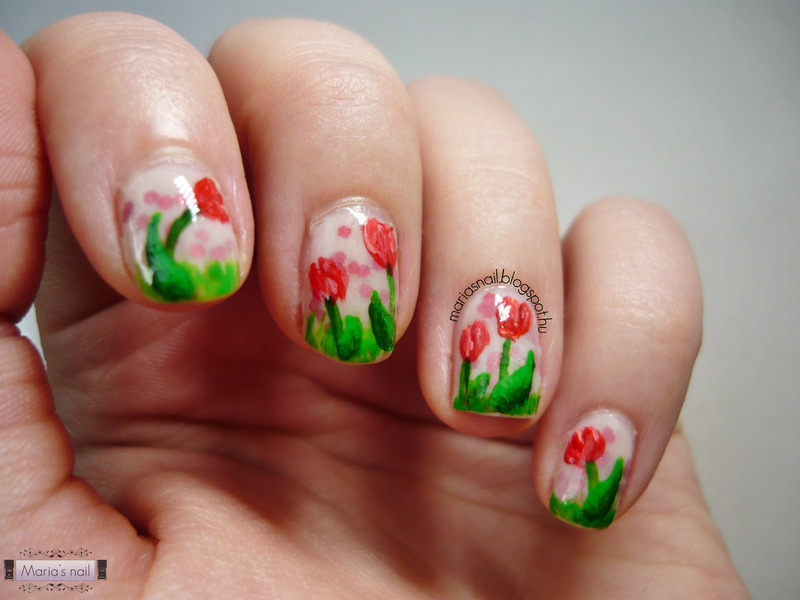 The Red Tulip nail art by Maria