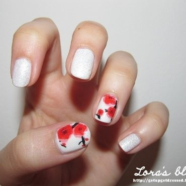 Cherry blossom nail art by Lora