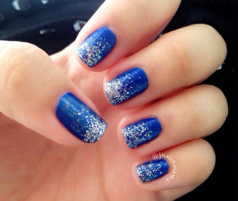 Blue and silver glitter gradient nail art by ℐustine