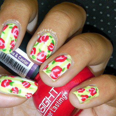 Neon Pastel Vintage matte Roses nail art by Nailz4fun
