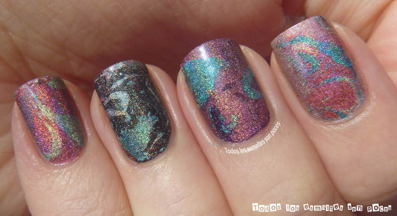 Holographic Water marble nail art by Maria