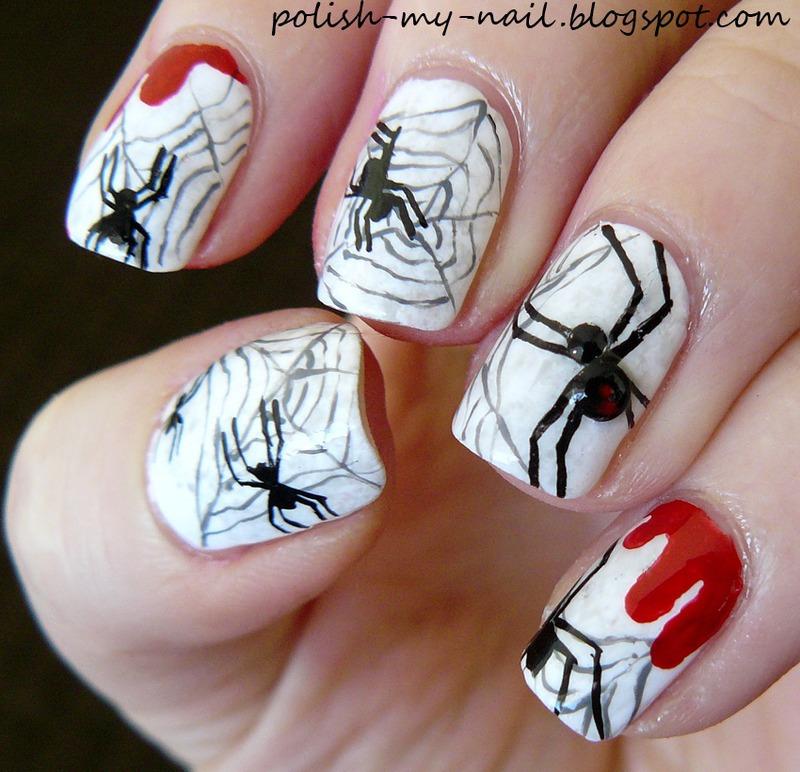 Halloween spiders nail art by Ewlyn