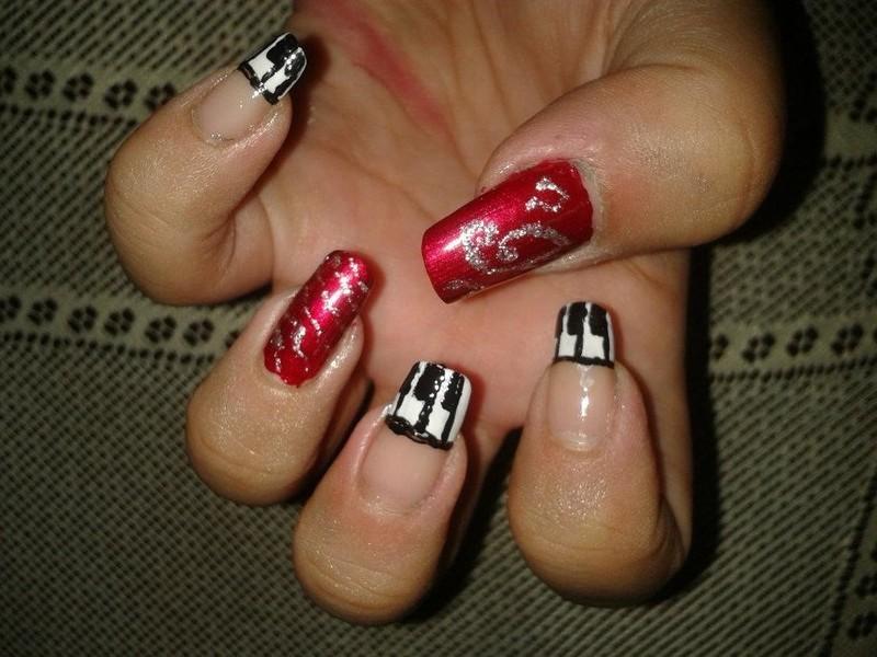 Musical notes nail art nail art by HerCreativePalace (kanika)