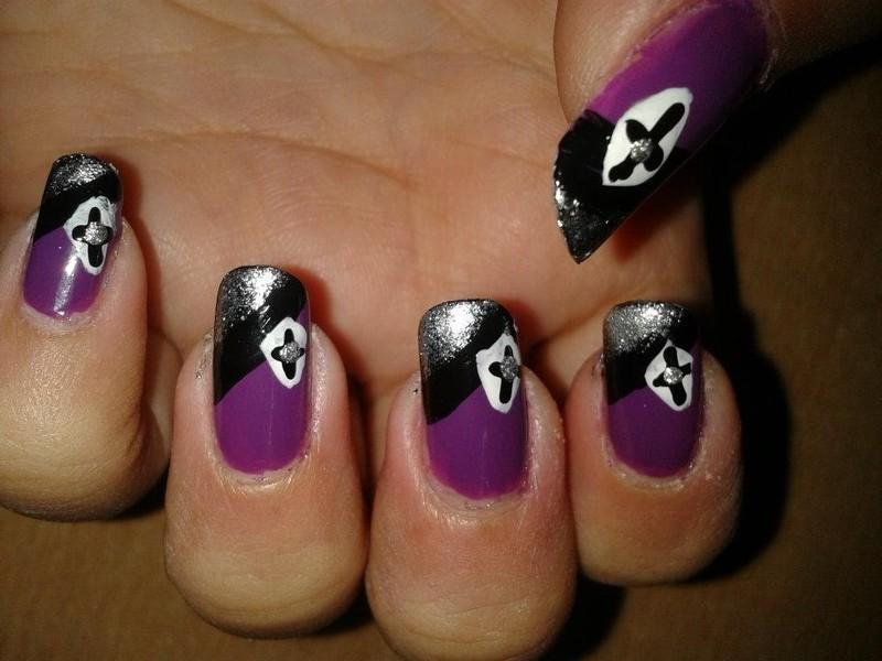 Purple, black and silver party nail art nail art by HerCreativePalace (kanika)