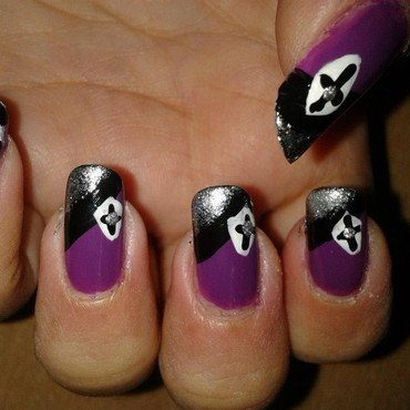 Purple, black and silver party nail art nail art by HerCreativePalace (kanika)