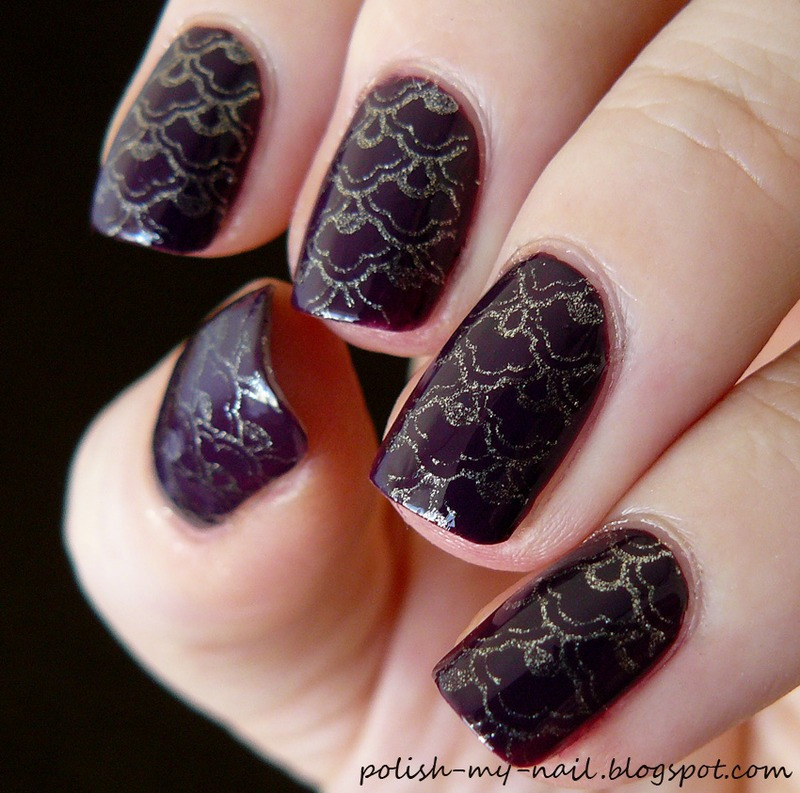 Gold stamps nail art by Ewlyn
