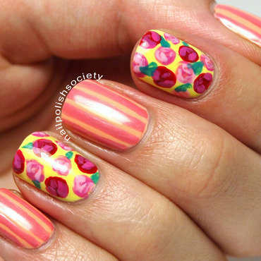 Days of Stripes and Roses nail art by Emiline Harris