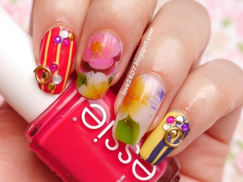 Add some color to this spring nail art by Anhy