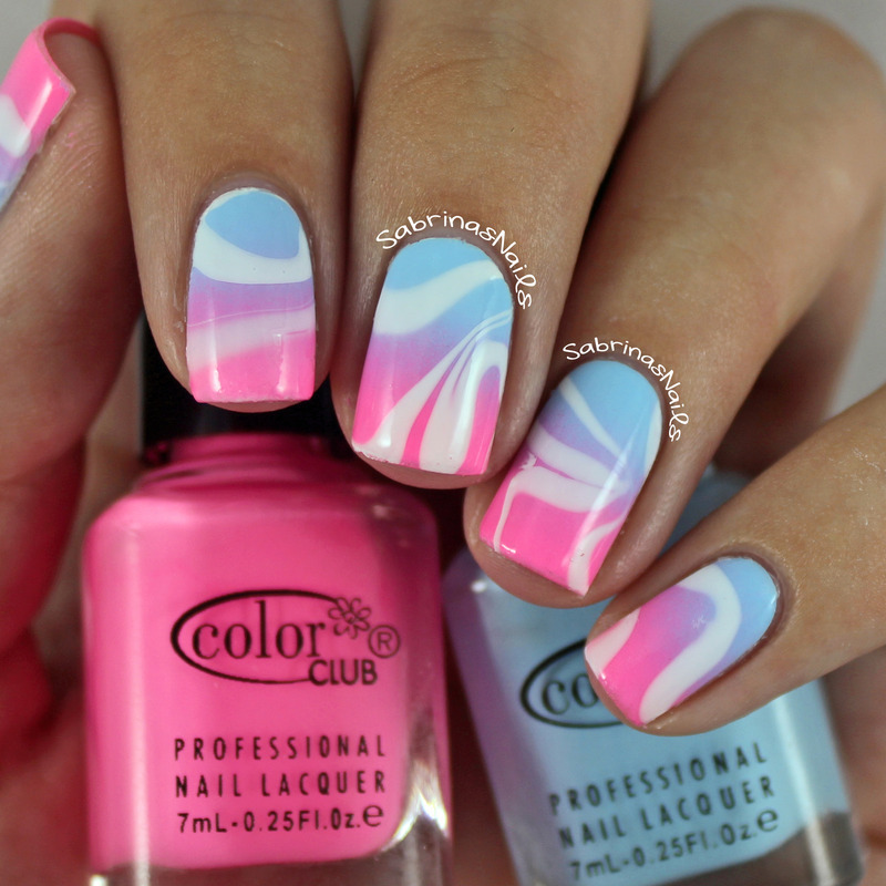 Cotton Candy Watermarble Nails nail art by Sabrina