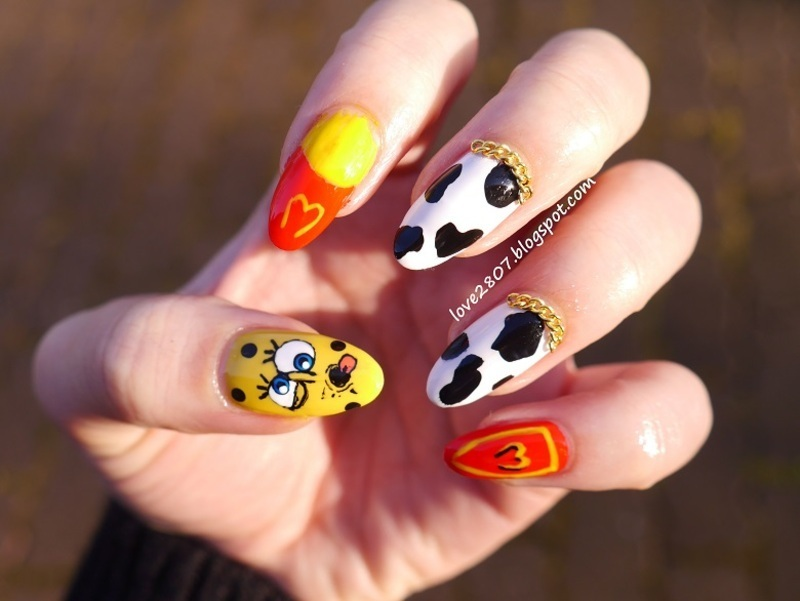 Inspired by Jeremy Scott for Moschino nail art by Anhy
