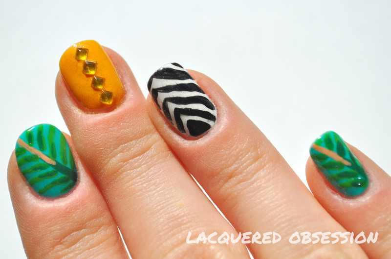 Jungle mix nail art by Lacquered Obsession