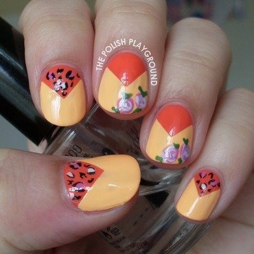 Roses and leopard print color block nail art thumb370f