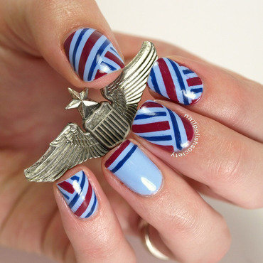 Retro Airline Stewardess nail art by Emiline Harris