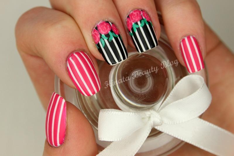 Stripes & Roses nail art by Hinata