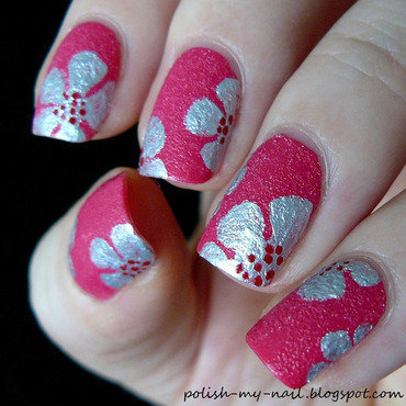 Kiko magenta   painted silver flowers 2 thumb370f