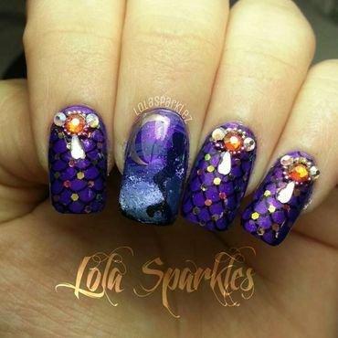 midnight mermaid  nail art by christy vasquez