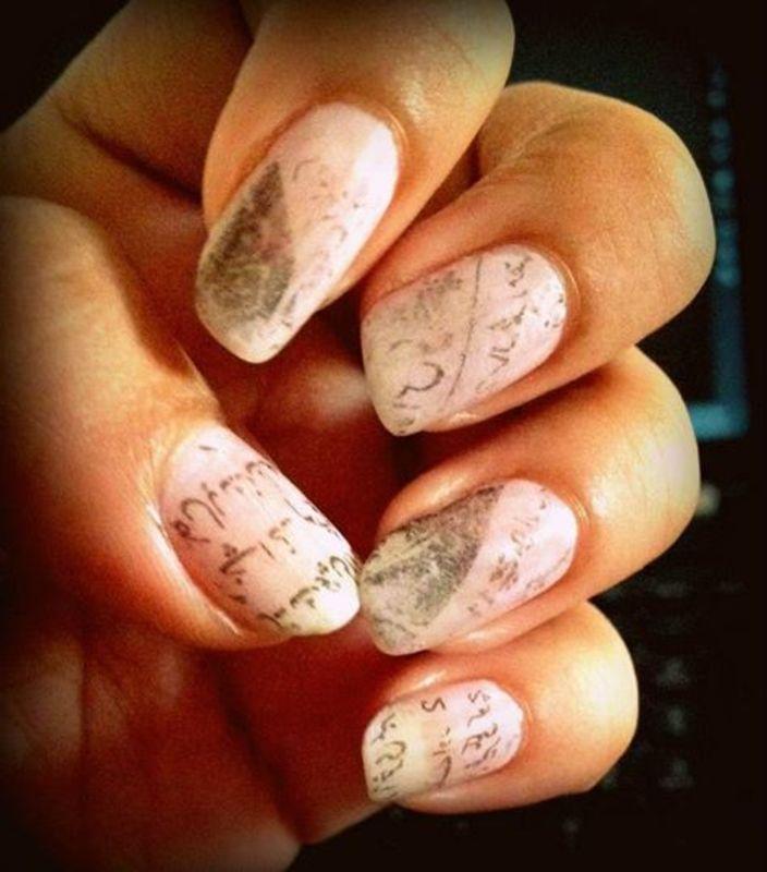 vintage news paper nail art by arika