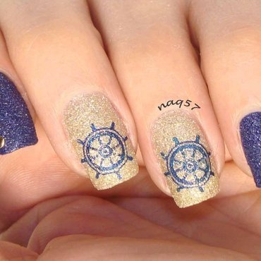 Nautical Texture nail art by Nora (naq57)