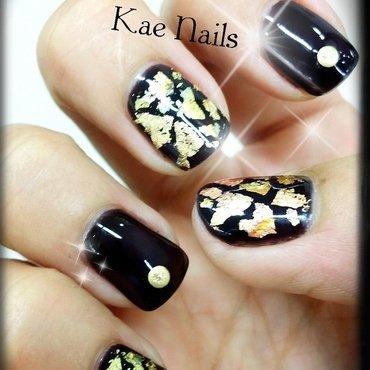 Gold Foils on Black Nails nail art by Karen