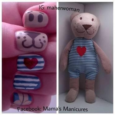 Pierre the Bear (my son's fav stuffy) nail art by Mama's Manicures (maherwoman)