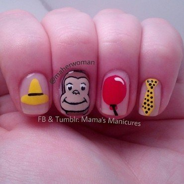 Curious George Nails nail art by Mama's Manicures (maherwoman)